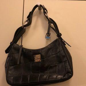 Dooney & Bourke Croco Embossed Leather Hobo-Black